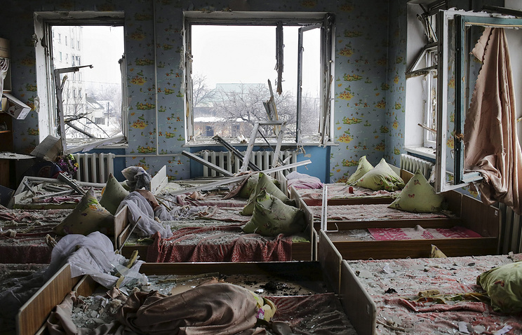Shelled kindergarten in Donetsk area (archive)