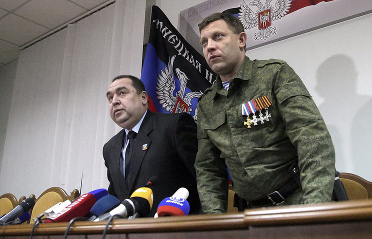 Heads of the self-proclaimed Luhansk and Donetsk People's Republics, Igor Plotnitsky and Alexander Zakharchenko