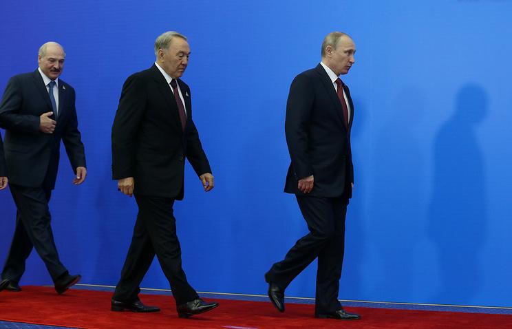 Presidents of Belarus, Kazakhstan and Russia, Alexander Lukashenko, Nursultan Nazarbayev and Vladimir Putin
