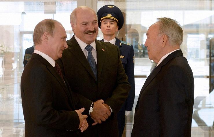 Russia's president Vladimir Putin, Belarusian president Alexander Lukashenko, and Kazakhstan's president Nursultan Nazarbayev