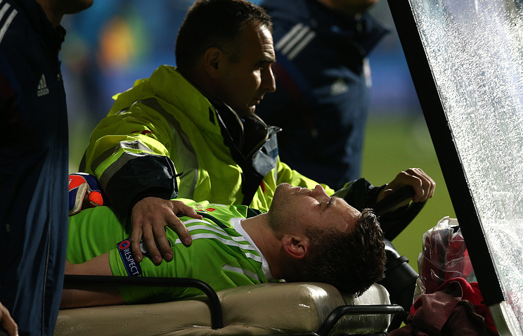 Goalkeeper Akinfeyev was carried away on stretchers from the field