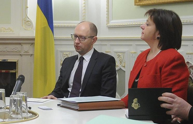 Ukraine's Prime Minister Arseniy Yatsenyuk and Finance Minister Natalie Jaresko