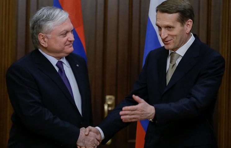 Armenian Foreign Minister Edward Nalbandian and State Duma Speaker Sergey Naryshkin