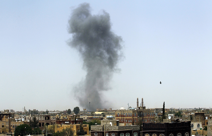 Smoke rising following an airstrike carried out by the Saudi-led alliance, in Sana'a, Yemen