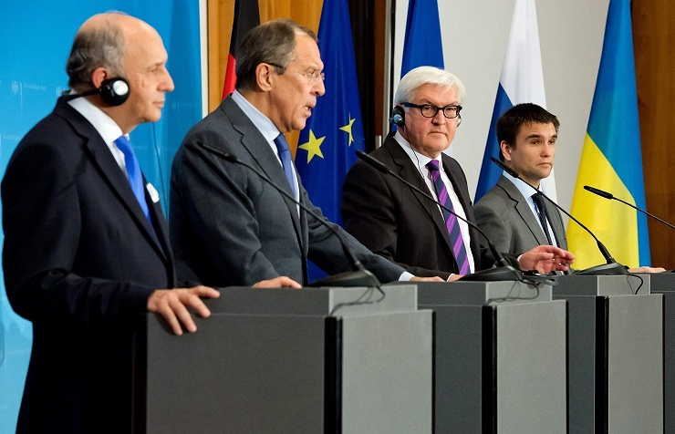 The Foreign Ministers of France, Laurent Fabius, of Russia, Sergei Lavrov, of Germany, Frank-Walter Steinmeier (SPD) and of Ukraine, Pavlo Klimkin