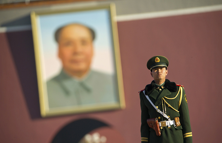 Portrait of late Chinese leader Mao Zedong at Tiananmen Square