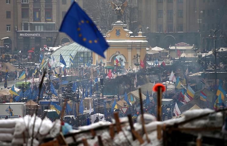 An EU flag seen in Kiev