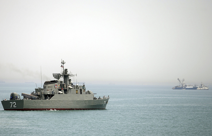 Iranian warship in the Strait of Hormuz