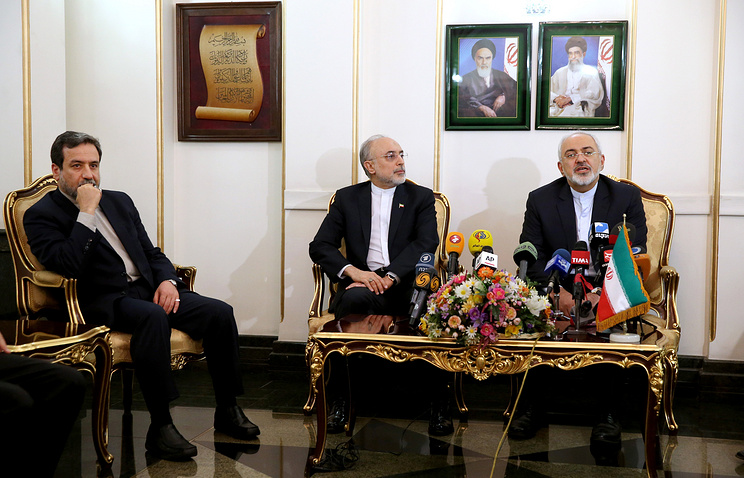 Iranian Deputy Foreign Minister Abbas Araqchi, head of Iran's Atomic Energy Organization Ali Akbar Salehi and Iranian Foreign Minister Mohammad Javad Zarif