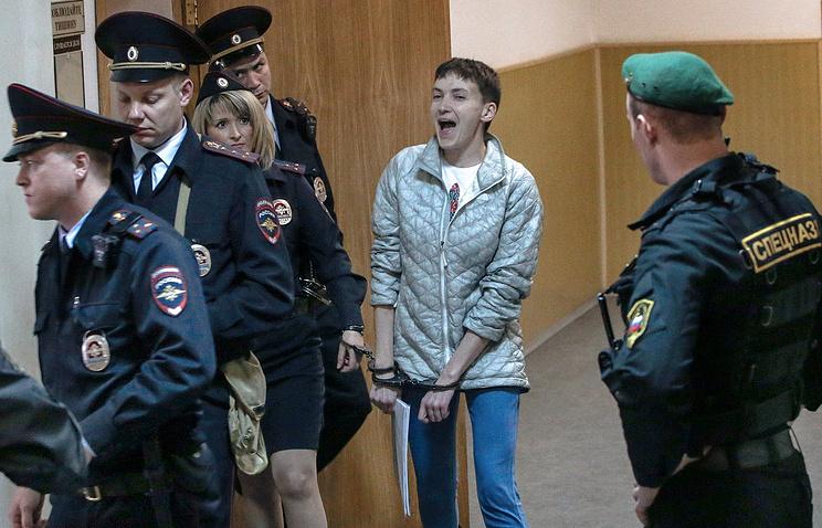 Nadezhda Savchenko escorted to court, May 6