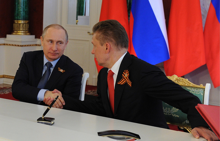 Russian President Vladimir Putin and Gazprom CEO Alexey Miller during the meeting with the Chinese side