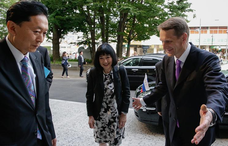 Japan's former Prime Minister Yukio Hatoyamawith, his wife Miyuki and Russian State Duma chairman Sergei Naryshkin