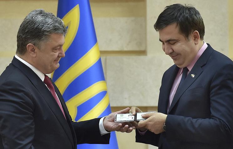 Ukraine's president Petro Poroshenko and former Georgia's president Mikhail Saakashvili