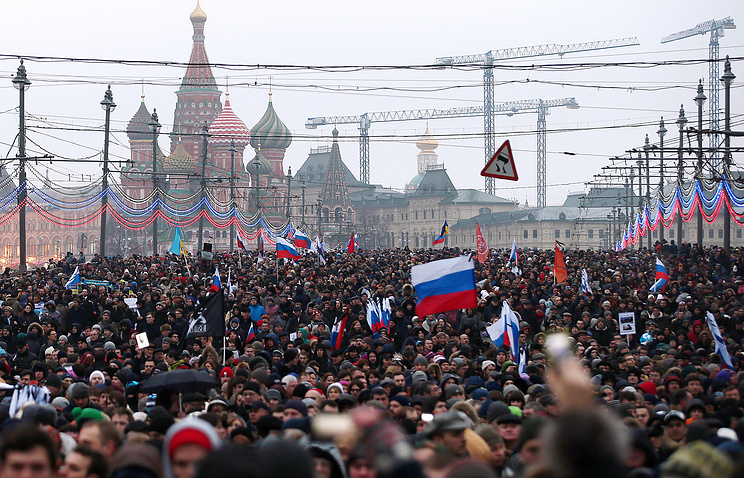 A demonstration in memory of slain opposition leader Boris Nemtsov in central Moscow