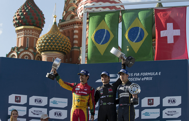 The winner's podium for the Formula E auto race in Moscow