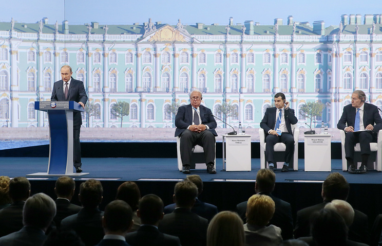 Russian President Vladimir Putin at a plenary session of the St. Petersburg International Economic Forum