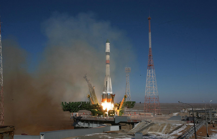 Soyuz rocket with a Progress cargo spaceship being launched at the Baikonur cosmodrome (archive)