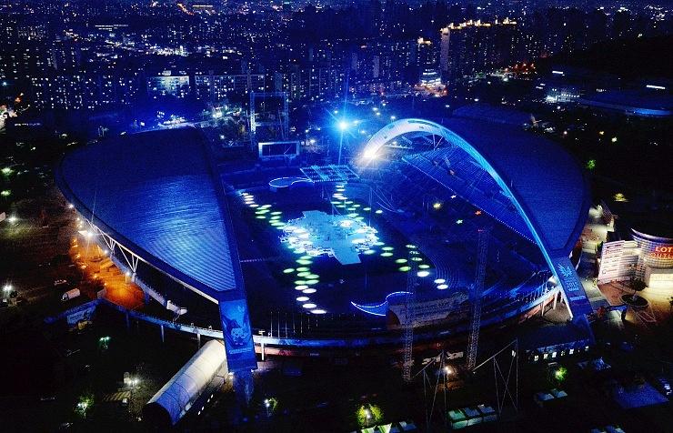 The main stadium of the 28th World University Summer Games (Universiade) in Gwangju, South Korea