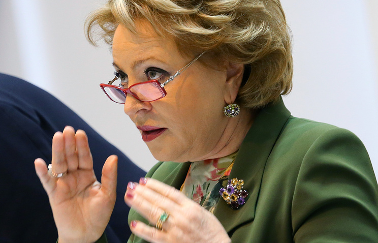 Speaker of the Federation Council upper house Valentina Matviyenko