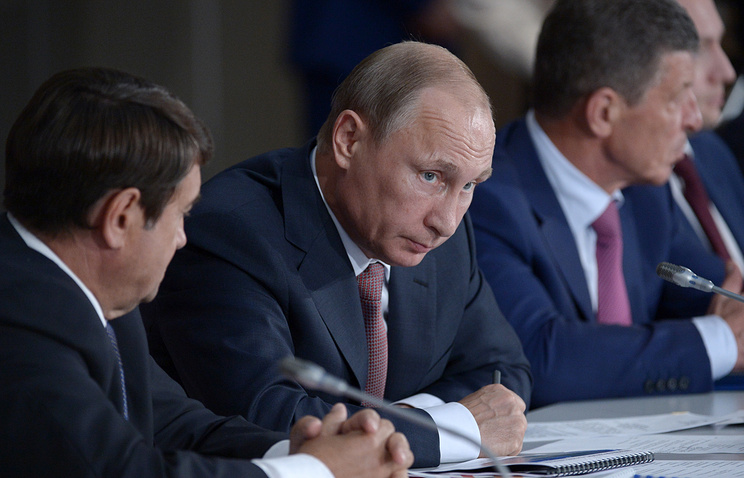 Russian President Vladimir Putin at a meeting of the presidium of the State Council