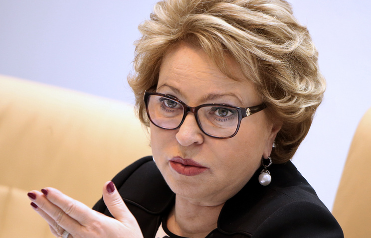 Valentina Matviyenko, the speaker of the Russian Federation Council