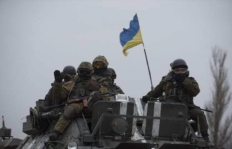 Ukrainian servicemen near Donetsk, eastern Ukraine