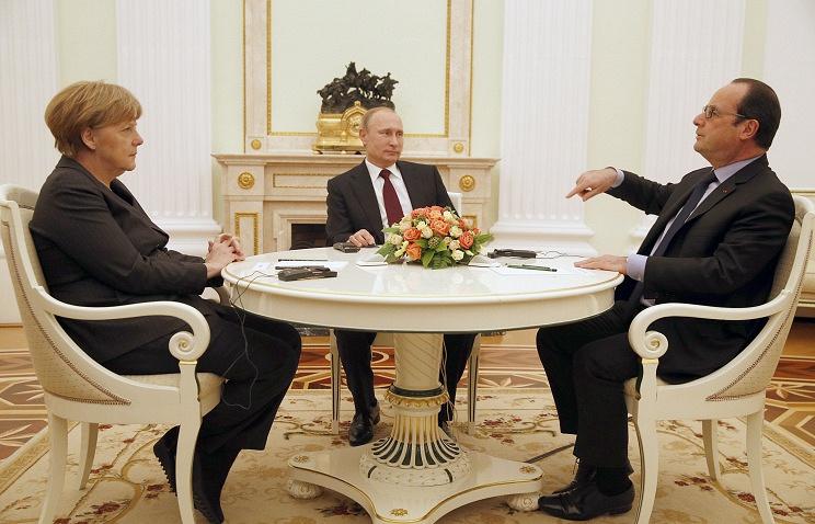 German Federal Chancellor Angela Merkel, Russian President Vladimir Putin and French President Francois Hollande
