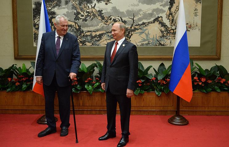 Czech Republic's President Milos Zeman and Russian President Vladimir Putin