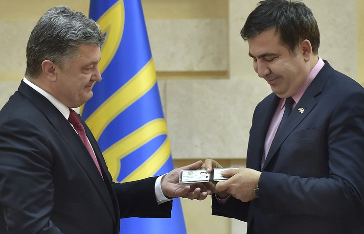 Ukrainian President Petro Poroshenko and Odessa region governor Mikheil Saakashvili