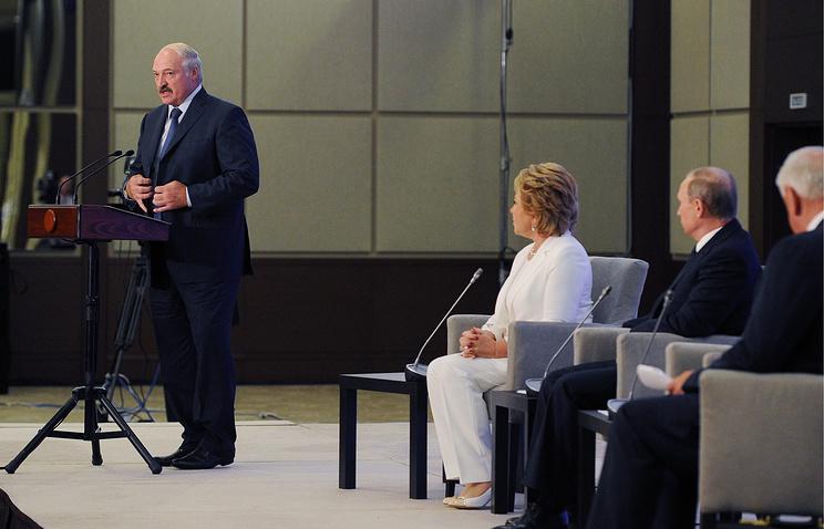 Belarusian president Alexander Lukashenko at forum of Russian and Belarusian regions