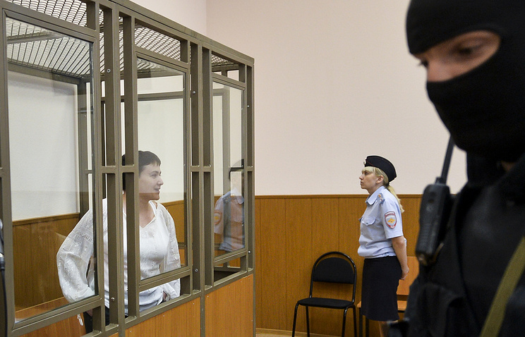 Nadezhda Savchenko seen during a court hearing in southern Russian town of Donetsk