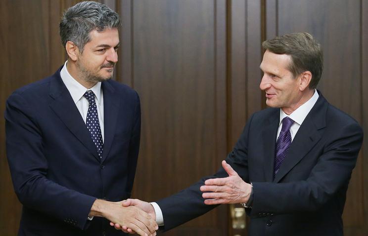 Vice President of the Italian Chamber of Deputies Simone Baldelli and Russian State Duma Speaker Sergey Naryshkin