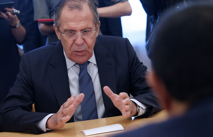Russian Foreign Minister Sergey Lavrov at the meeting with UN High Representative for the Alliance of Civilizations Nassir Abdulaziz Al-Nasser