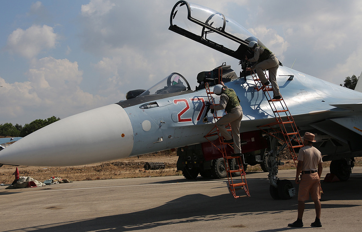 Russia's Sukhoi Su-30 fighter jet at the Hmeymim airbase in Syria