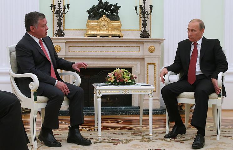 King Abdallah II of Jordan and Russian President Vladimir Putin