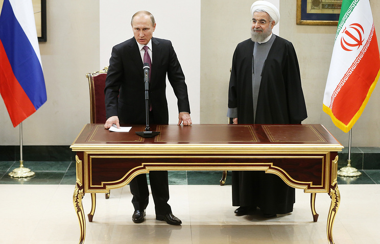 Russian President Vladimir Putin and Iran's President Hassan Rouhani