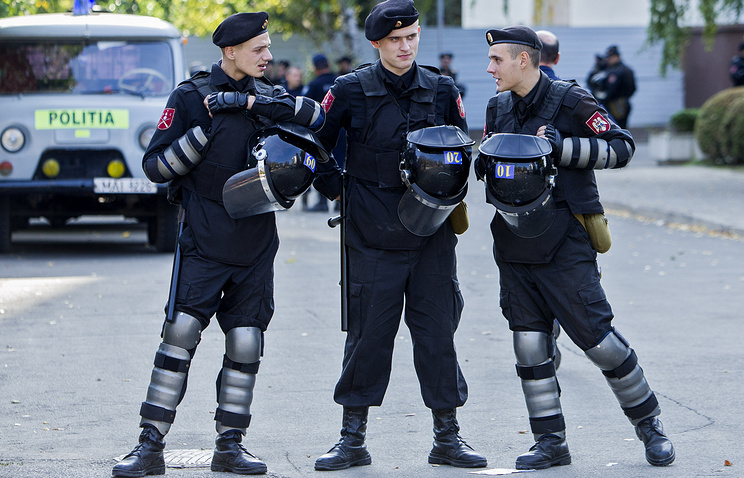 Police officers in Chisinau, Moldova