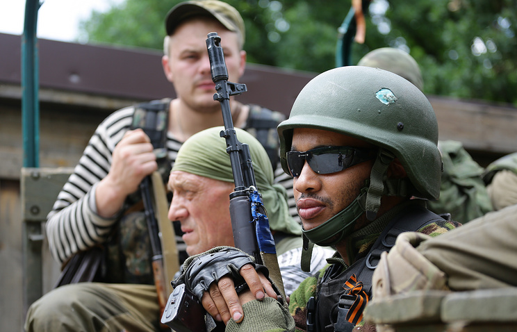 Militia fighters in Donbas