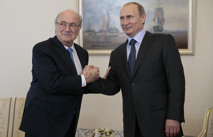 FIFA chief Sepp Blatter and Russian President Vladimir Putin