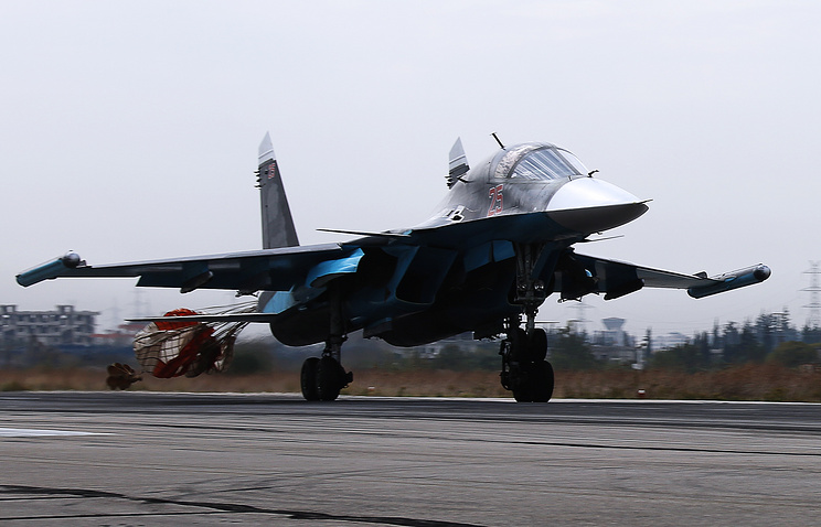 Russia's Su-30SM multirole fighter aircraft at the Hmeymim airbase in Syria