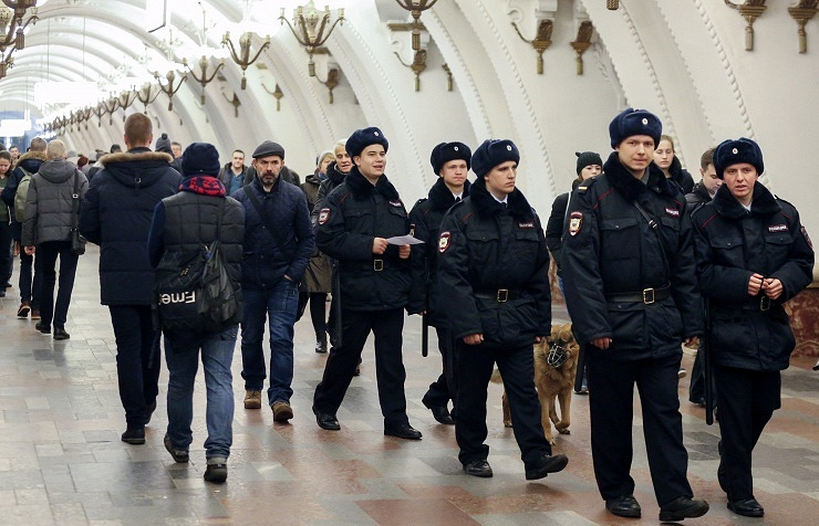Police in Moscow metro