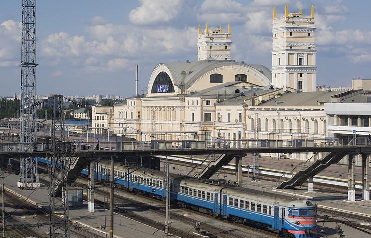 Railway station in Kharkiv, Ukraine