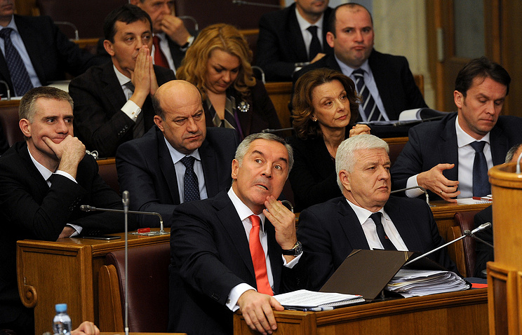 Montenegro's Prime Minister Milo Djukanovic seen during a Government session
