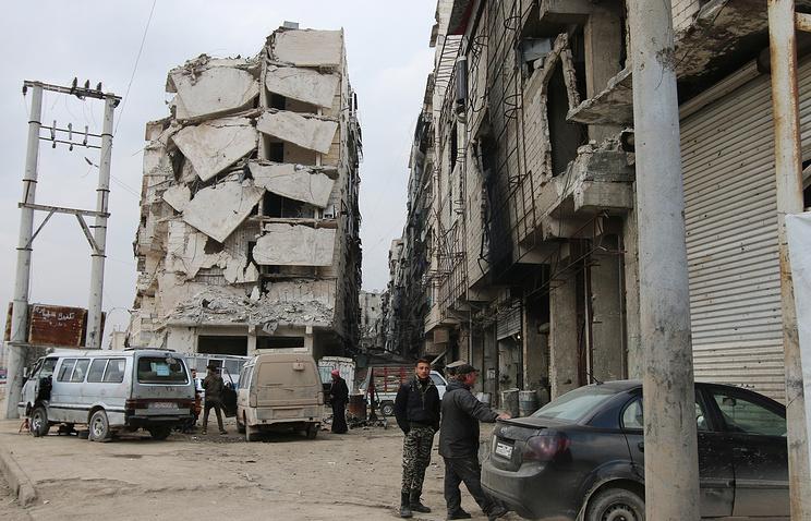 Damaged building in Aleppo, Syria