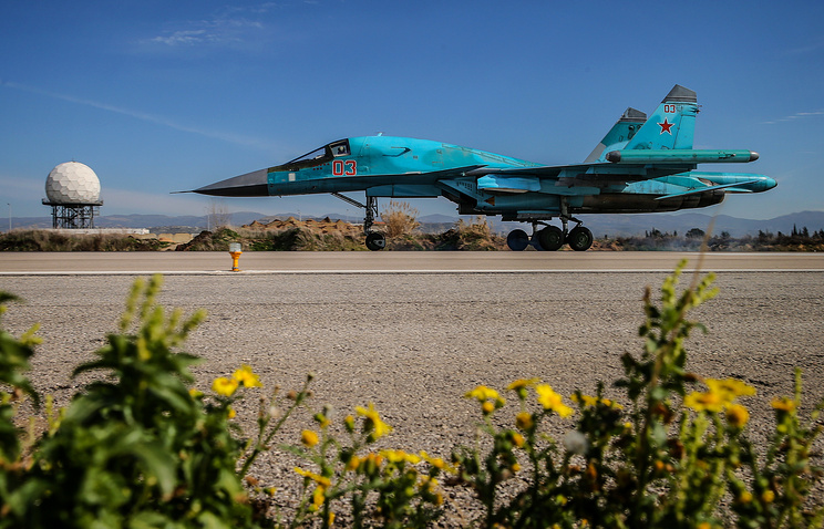 A Russian warplane at the Hmeimim air base in Syria