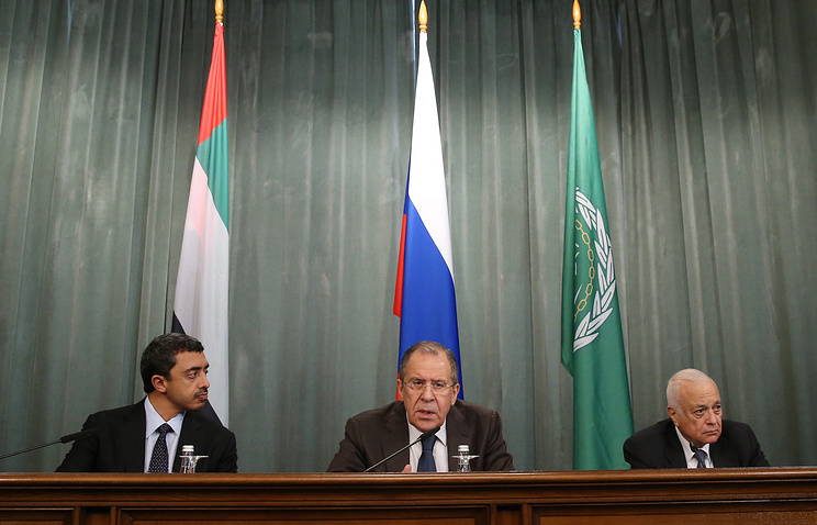 Sheikh Abdullah bin Zayed bin Sultan Al Nahyan, Foreign Minister of the United Arab Emirates, Russia's Foreign Minister Sergei Lavrov and Nabil Elaraby, Secretary-General of the Arab League