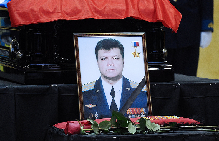 Portrait of Russian Air Force pilot Oleg Peshkov, a commander of the Su-24 bomber aircraft downed in Syria