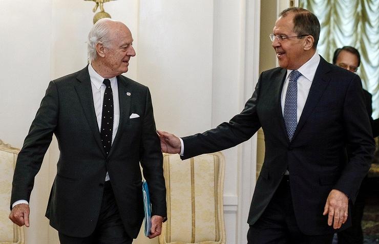 Staffan de Mistura and Sergey Lavrov