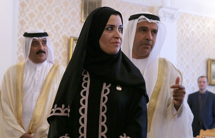 UAE's Federal National Council Speaker Amal Al Qubaisi (center)