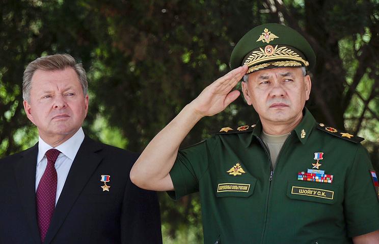 Sergey Shoigu (right) in Crimea